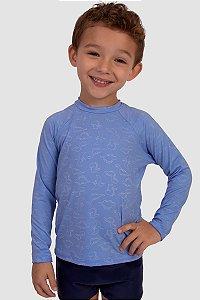 Blusa Manga Longa Infantil Masculina Proteção Solar UV50+ Azul