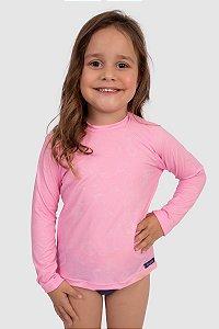 Blusa Manga Longa Infantil Feminina Proteção Solar UV50+ Rosa Neon