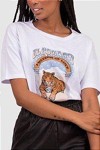 T-Shirt Feminina Branca com estampa Localizada