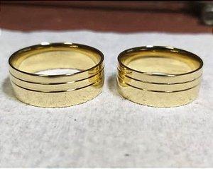 Aliança feita de moeda antiga 8mm anatômica com friso duplo