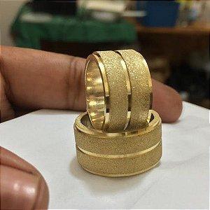 Aliança feita de moeda antiga 9mm quadrada anatômica friso duplo alto relevo escovado