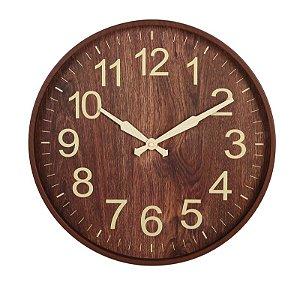 Relógio de parede Amadeirado Marrom Escuro 45CM