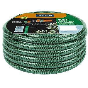 Mangueira Flex Tramontina Verde em PVC 3 Camadas 30m com Engates Rosqueados e Esguicho 79172/300