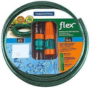 Mangueira Flex Tramontina Verde em PVC 3 Camadas 20 m com Engates Rosqueados e Esguicho 79172/200