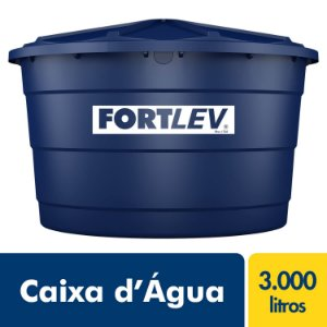 Caixa D'Água de Polietileno com Tampa Azul 3000Lt Fortlev 2020005