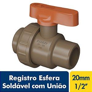 Registro Esfera Soldável com União 20mm Ou 1/2'' Marrom PVC Fortlev