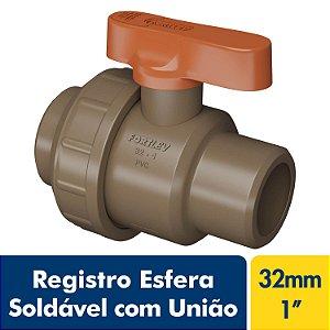 Registro Esfera Soldável com União 32mm Ou 1'' Marrom PVC Fortlev