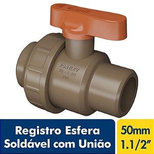 Registro Esfera Soldável com União 50mm Ou 1.1/2'' Marrom PVC Fortlev