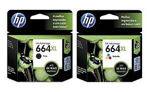 Kit Cartucho HP 664XL Preto e Colorido