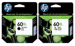 Kit Cartucho HP 60XL Preto e Colorido