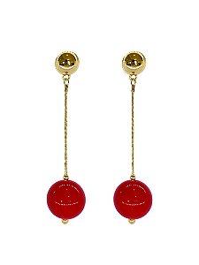 Brinco Vermelho - Berries Clássico Dourado