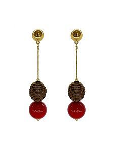 Brinco Vermelho - Wood Berries Dourado