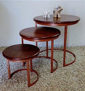 Mesa Lateral Safira estilo industrial conjunto 3 peças - tampo madeira maciça