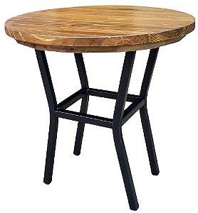 Mesa lateral Bia estilo industrial tampo madeira maciça 50cm