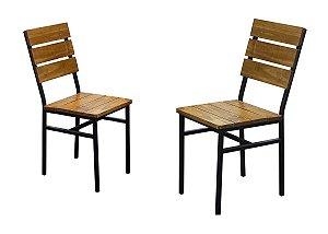 Cadeira Portugal (kit com 2 unidades) estilo industrial GDecor Madeira