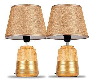 Kit 2 Abajur Luminária Moderno de Cerâmica Com Cúpula Para Sala Quarto