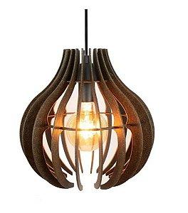 Pendente Lustre Luminária de Madeira Rústico Industrial 30cm