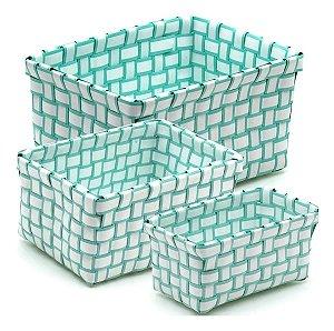 Kit Jogo 3 Cestos Organizadores Plástico Banheiro Decoração