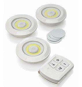 Kit 3 Lâmpada Luminária Led Spot Sem Fio Controle Remoto