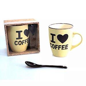 Caneca de Porcelana com Colher Hot Coffee