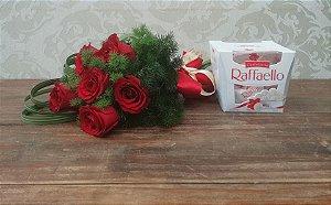 Buquê de 6 Rosas com Raffaello
