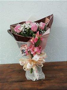 Buquê de 7 Rosas Rosa