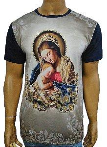 Camiseta Bordada Maria Azul Marinho