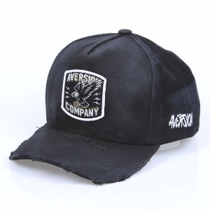 PRÉ-VENDA | Boné Aversion Snapback Aba Curva Preto Destroyed - Model Eagle Patch