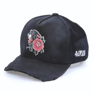 Boné Aversion Snapback Aba Curva Preto Destroyed - Model Panther