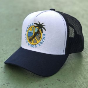 Boné Aversion Trucker Aba Curva Azul/Branco - Model Salt Water