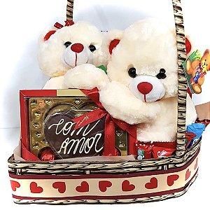 Cesta Coração Ursos Love