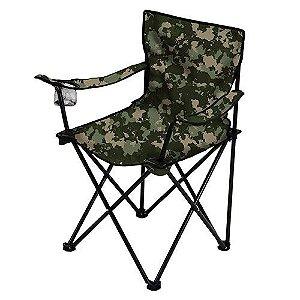 Cadeira Camping Dobrável com Porta Copo Camuflado
