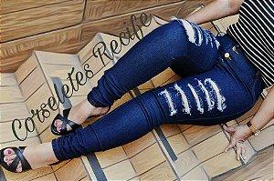 Calça Jeans rasgada com lycra  plus size