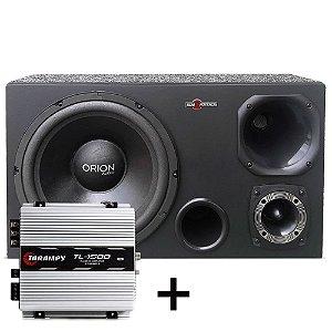 Caixa Trio 520w Subwoofer Orion Audio + Módulo Taramps