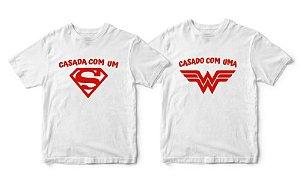 Kit Camisetas Casada com Herói - Tamanhos M/GG