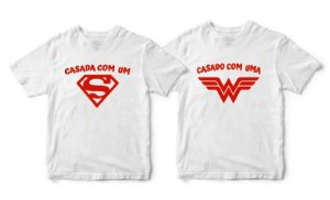 Kit Camisetas Casada com Herói - Tamanhos G/P