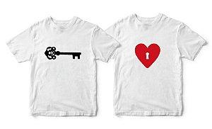Kit Camisetas Chave do Coração - Tamanhos M/M