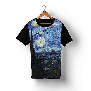 Camiseta A Noite Estrelada, de Van Gogh em Sublimação