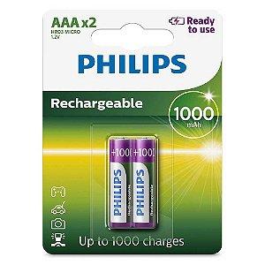 Pilha Recarregável AAA Philips 1000mah HR03 Micro 1.2v com 2 Unidades