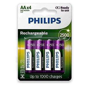 Pilha Recarregável AA Philips 2500mah HR6 Mignon 1.2v com 4 Unidades