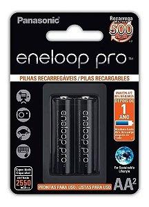 Pilha Recarregável AA Panasonic Eneloop Pro 2550mah com 2 Unidades