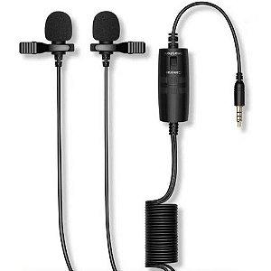 Microfone de Lapela Duplo Com Fio Soleste M2L6