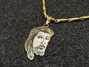 CORRENTE MASCULINA COM PINGENTE ROSTO JESUS