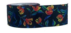 Fita de Gorgurão Floral Black Laranja 0493