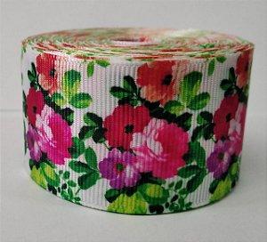 Fita de Gorgurão Floral Verde Vintage 10314