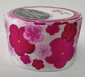 Fita de Gorgurão Floral Sakura Pink 10346