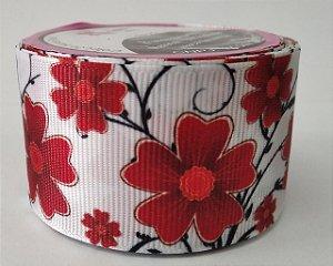 Fita de Gorgurão Floral Vermelho 9168