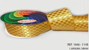 Fita Cetim Quadriculada Sinimbu n°9 (38mm) - 1148 Ouro