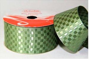 Fita Cetim Quadriculada Sinimbu n°9 (38mm) - 1413 Verde Oliva