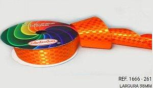 Fita Cetim Quadriculada Sinimbu n°9 (38mm) - 261 Orange